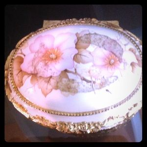 Sevres Antique Porcelain & brass jewelry music box